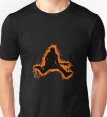 Guitarist jump orange and black silhouette Unisex T-Shirt