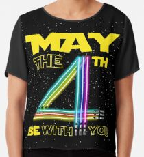 The 4th of May Be With You Colorful Lightsaber Birthday Gift Chiffon Top