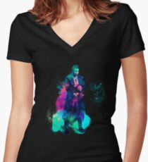 Man sixpack colorful Women's Fitted V-Neck T-Shirt