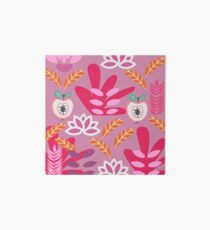 Apples and flowers in shades of pink Art Board