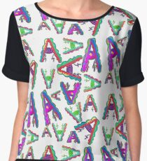 THE LETTER A - 2018- 40 DAY CHALLENGE - HAND DRAWN - GRAHIC ALPHABET  Chiffon Top