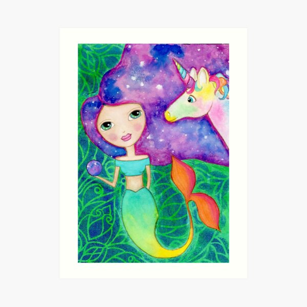 Mixed Media Cosmic Mermaid with Unicorn  Art Print