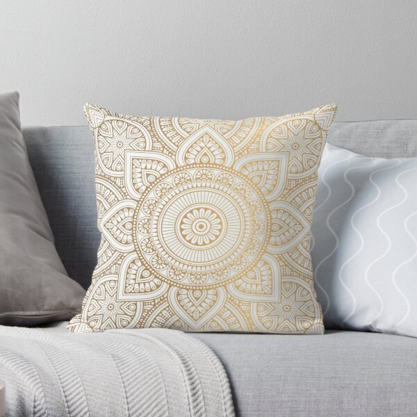 Mandala Gold Throw Pillow