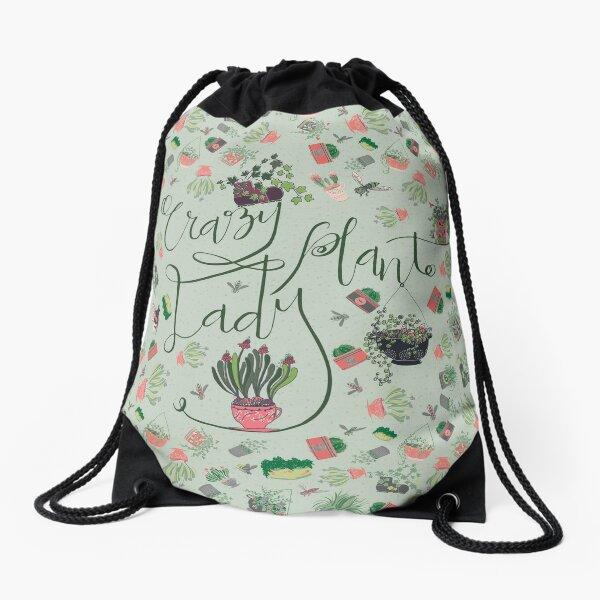 Crazy Plant Lady Pattern Drawstring Bag
