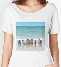 Penguins on the beach Women's Relaxed Fit T-Shirt