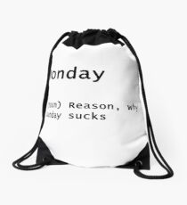 MONDAY in a modern meaning Drawstring Bag