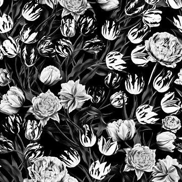 Black & White Floral pattern by burcukyurek