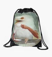 Surprised albino Frogmouth drinking coffee Drawstring Bag