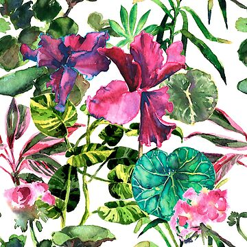 Seamless tropical flower, plant and leaf pattern background by OlgaBerlet