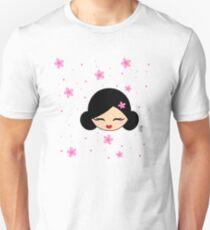 Smiling Kokeshi and sakura flowers Unisex T-Shirt
