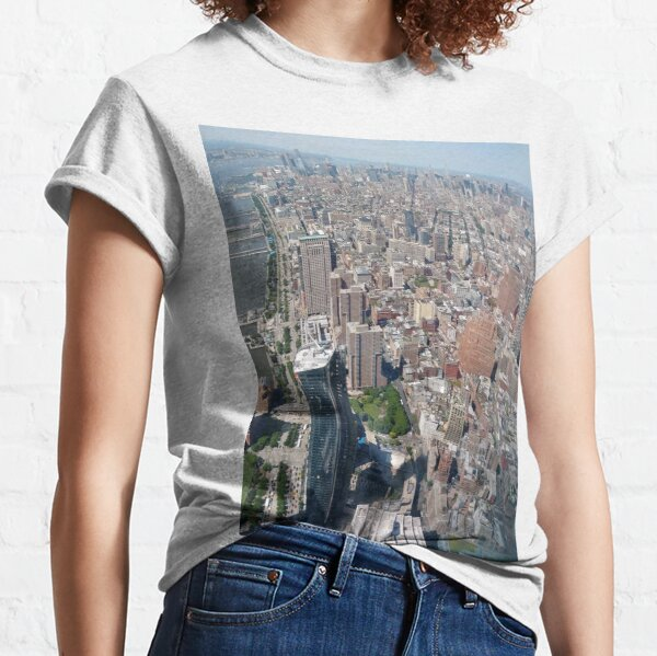 Aerial photography, New York City, Manhattan, Brooklyn, New York, streets, buildings, skyscrapers, #NewYorkCity, #Manhattan, #Brooklyn, #NewYork, #streets, #buildings, #skyscrapers, #cars Classic T-Shirt