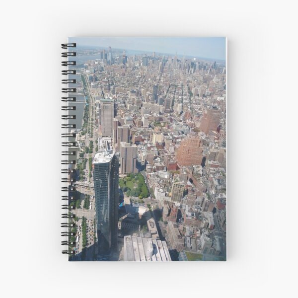 Aerial photography, New York City, Manhattan, Brooklyn, New York, streets, buildings, skyscrapers, #NewYorkCity, #Manhattan, #Brooklyn, #NewYork, #streets, #buildings, #skyscrapers, #cars Spiral Notebook