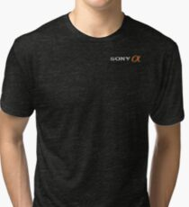 Sony Alpha Faded (With Text, White) Tri-blend T-Shirt