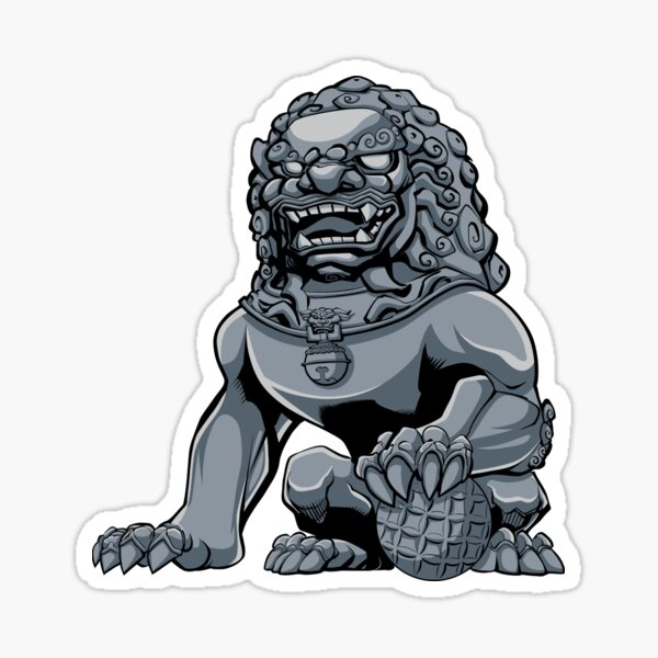 Chinese Lion Iron Sticker