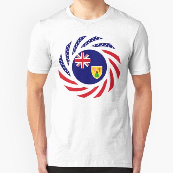Turks & Caicos Islander American Multinational Patriot Flag Series Slim Fit T-Shirt