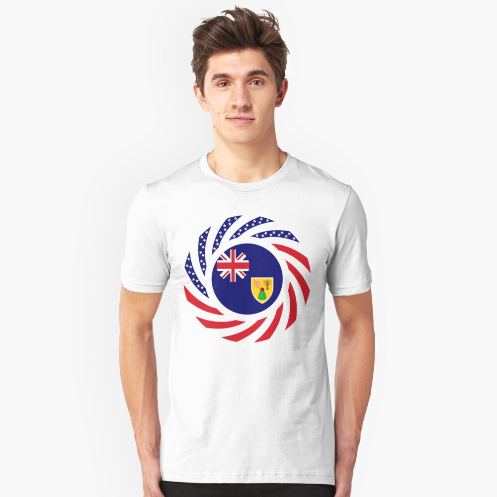 Turks & Caicos Islander American Multinational Patriot Flag Series Slim Fit T-Shirt