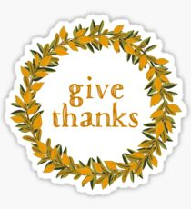 Give Thanks Autumn Fall Wreath Sticker