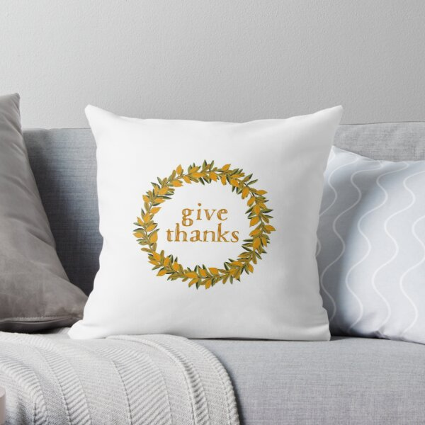 Give Thanks Autumn Fall Wreath Throw Pillow