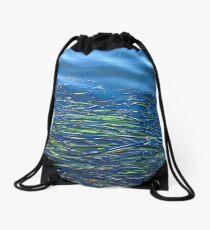 Blues and Greens Drawstring Bag