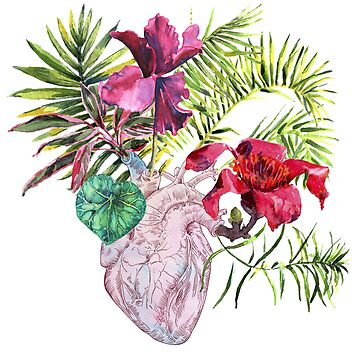 Human heart with flowers, plant and leaf, watercolor by OlgaBerlet
