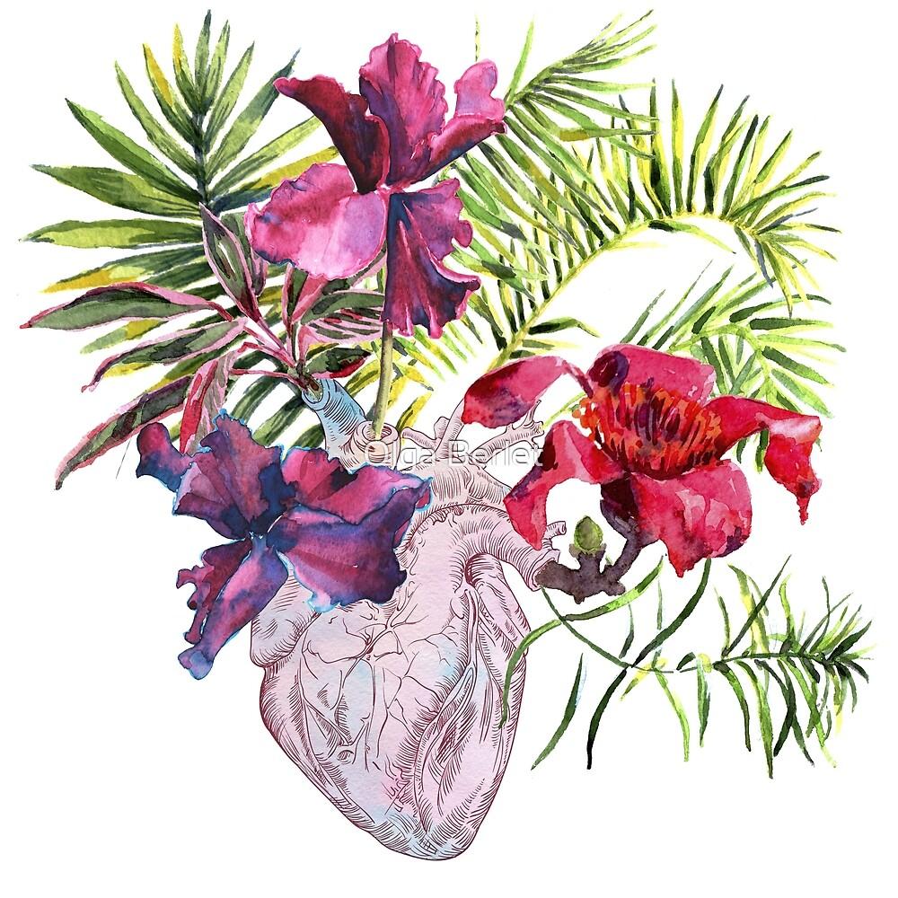 «Corazón humano con flores, plantas y hojas, acuarela» de OlgaBerlet