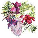 Menschliches Herz mit Blumen, Anlage und Blatt, Aquarell von OlgaBerlet