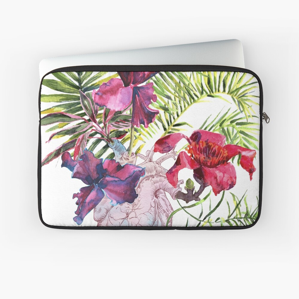 Menschliches Herz mit Blumen, Anlage und Blatt, Aquarell Laptoptasche