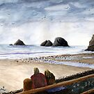 Oceanside Oregon Beach Watercolor by Chriss Pagani
