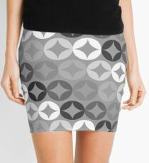 Gray Circle Print - Mid Century Modern Mini Skirt