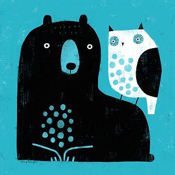 BEAR &  OWL BLUE by terryrunyan