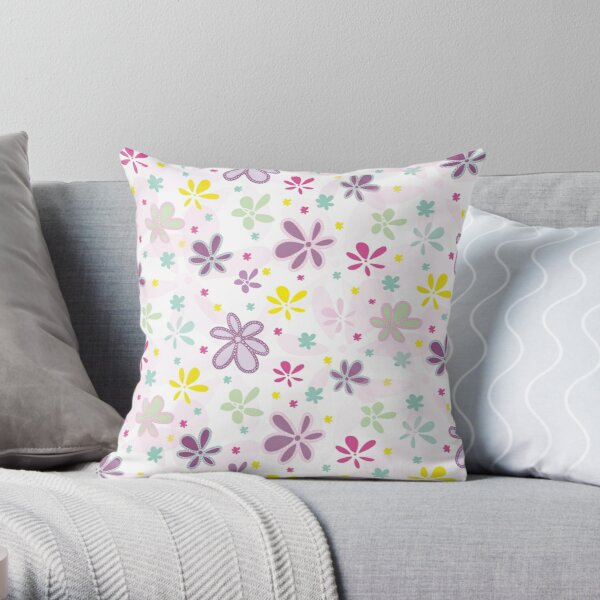 Garden Tea Party - Sunny  Flowers Throw Pillow