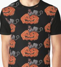 Jack O' Lantern Cat Graphic T-Shirt