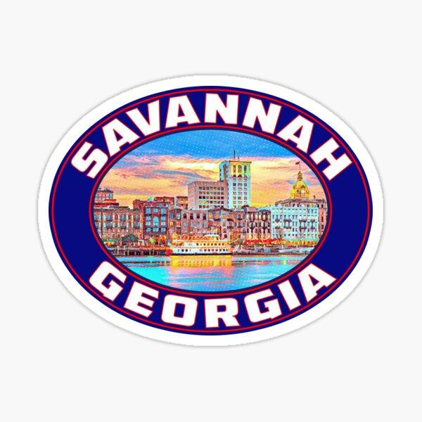 Savannah Georgia Vintage Travel Vacation Luggage Sticker
