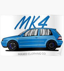 VW Golf MK4 MKIV (blue) Poster