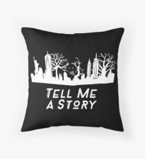 Tell Me A Story White  Throw Pillow
