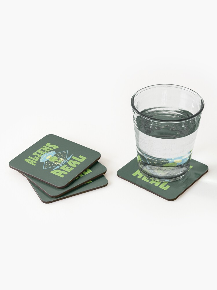 Alternate view of Aliens Are Real UFO Flying Saucer Extraterrestrial Coasters (Set of 4)