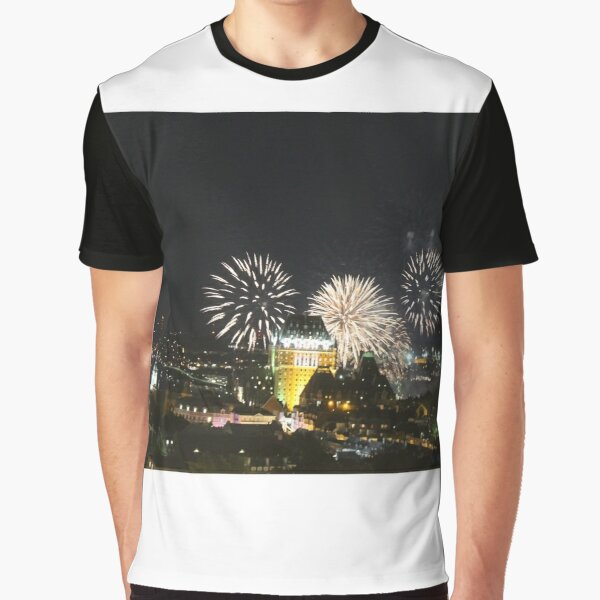 #Quebec, #Canada, Quebec #City, #Streets, #Buildings, #Places, #QuebecCity, #fireworks, #firework, #banger Graphic T-Shirt