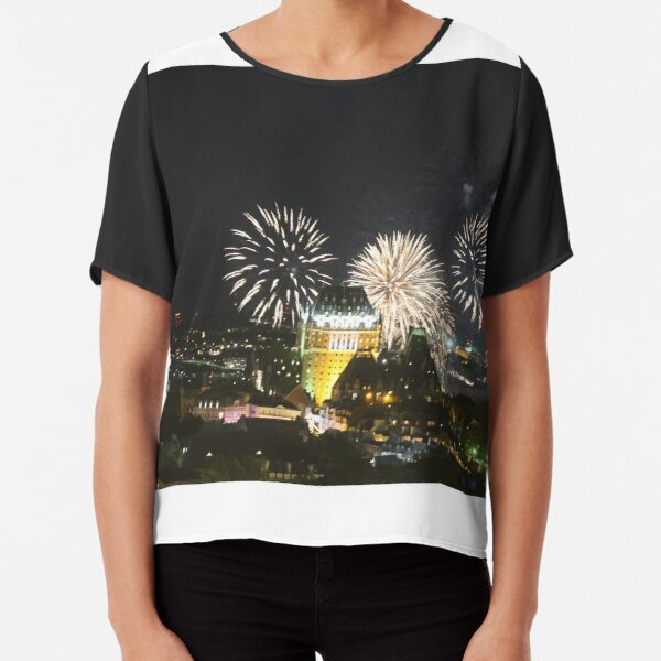 #Quebec, #Canada, Quebec #City, #Streets, #Buildings, #Places, #QuebecCity, #fireworks, #firework, #banger Chiffon Top