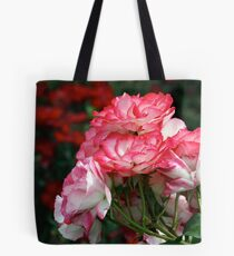 Pink Roses on Red Tote Bag