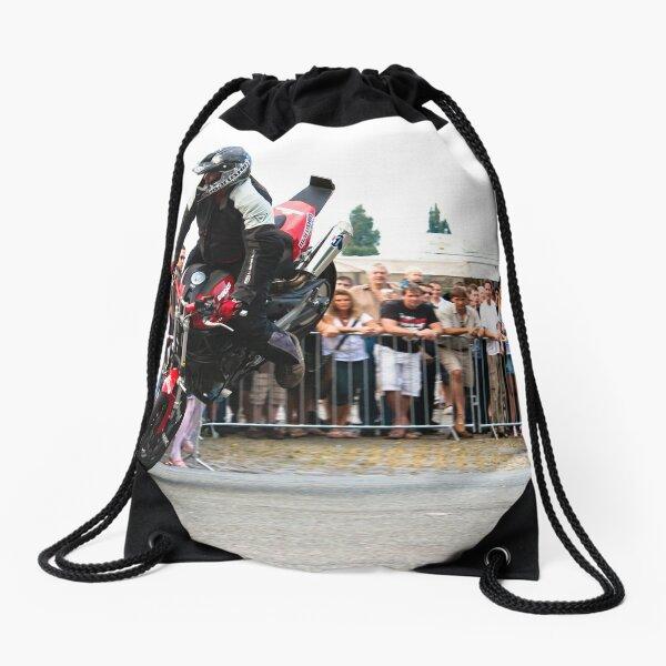 motorcycle stunt 005 Drawstring Bag