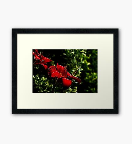 Red Lily in Green Framed Print