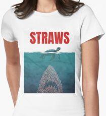 Straws - shark Women's Fitted T-Shirt