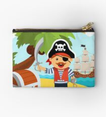 Pirate captain on island shore with treasure chest Studio Pouch