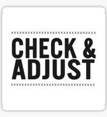 Check & Adjust Sticker