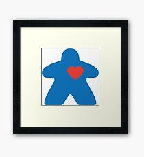 Meeple love - blue Framed Print