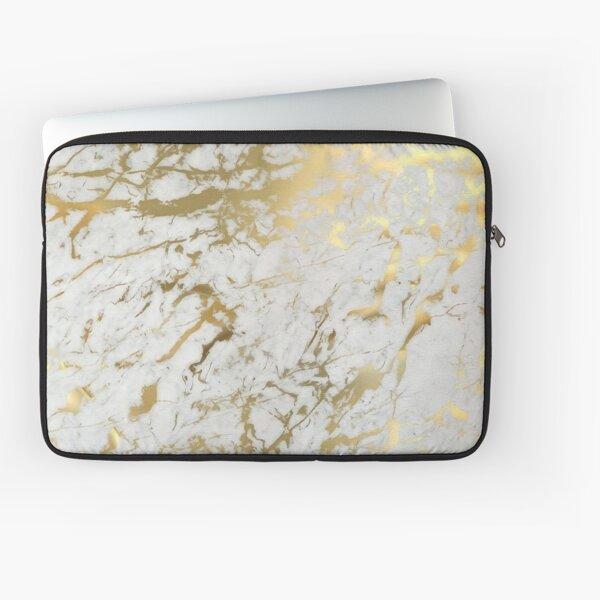 Marbre doré sur blanc (impression de qualité d'origine) Housse d'ordinateur