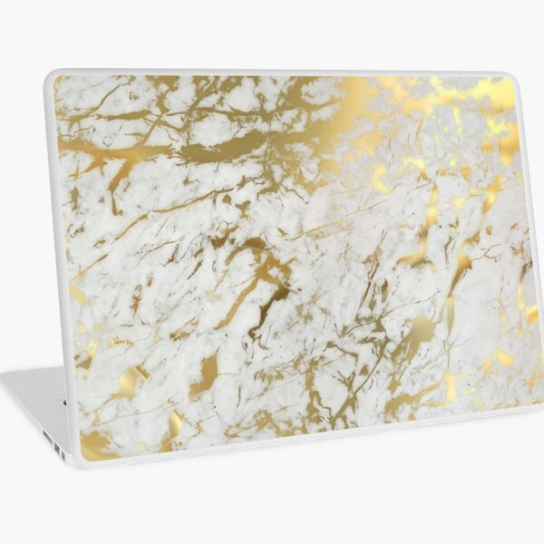 Gold marble on white (original height quality print) Laptop Skin