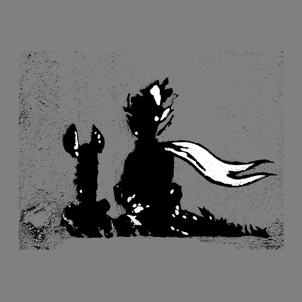 The LITTLE PRINCE and the FOX - stencil grey version by ARTito