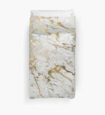 Gold Marmor auf Weiß (Original Höhe Qualitätsdruck) Bettbezug