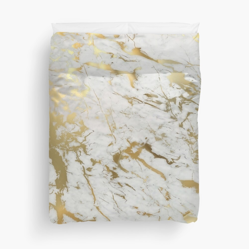 Gold marble on white (original height quality print) Duvet Cover